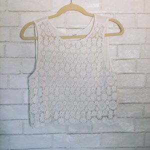 White BCNU Floral Crochet Crop Top L